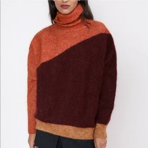 Zara Mohair Wool Colorblock Rollneck Sweater M